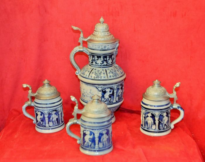 Set of 3 old style beer mugs and the corresponding Hanke jug, made in Germany