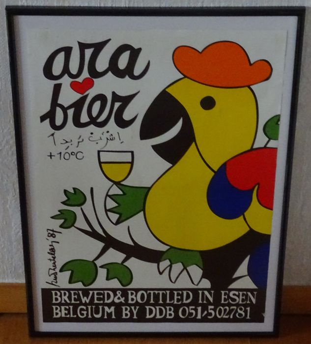 1987 original Poster Poster Ara beer framed by DDB brewery - de dolle brouwers