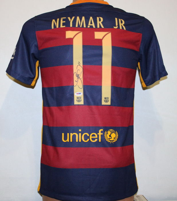 c4c1e568167 Neymar Jr Authentic Hand Signed Nike Soccer  11 Barcelona Home 2016 Soccer  Jersey. Neymar