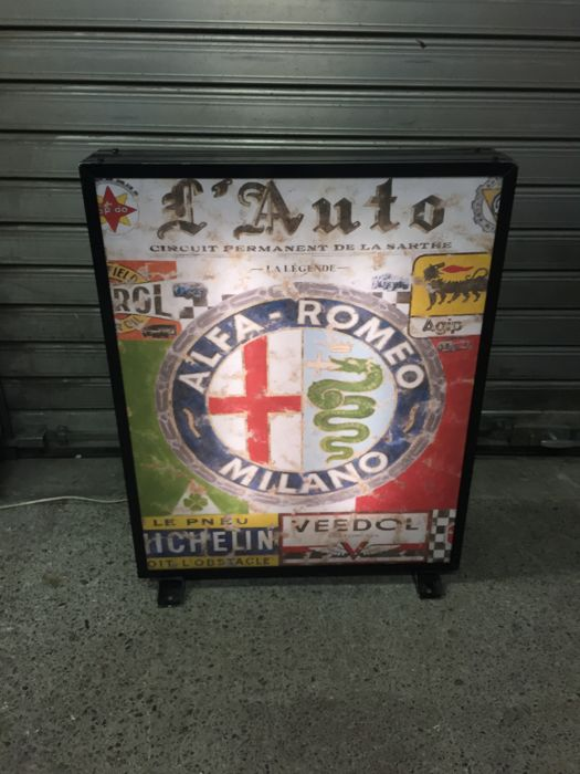 BIG ALFA ROMEO / Michelin / Agip / Veedol multi  lightbox - 80cm 65cm 14cm - Illuminated advertising sign - Garage lamp - XXL dealer sign - late 1990s