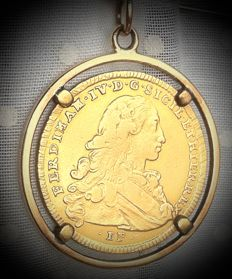 Kingdom of the Two Sicilies, 1768 - Ferdinando IV, Ducato, set as a pendant - Gold