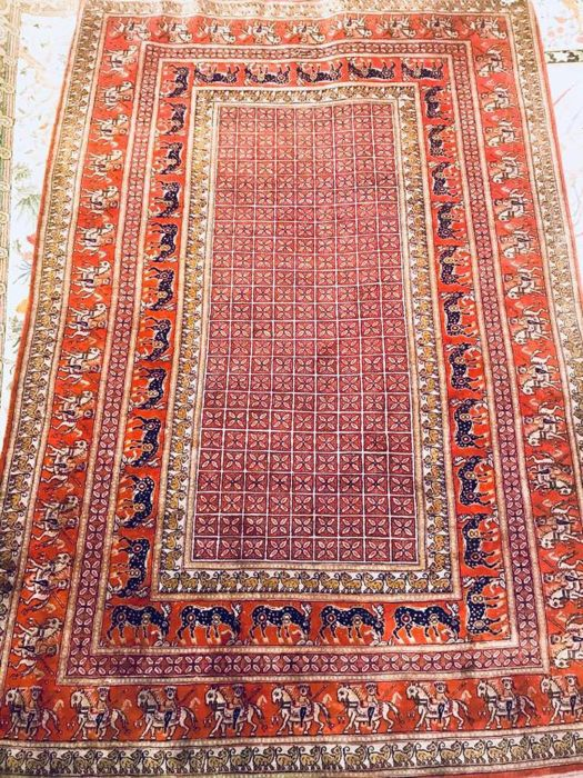 Handknotted persian rug qom 100*150 over 70 years old