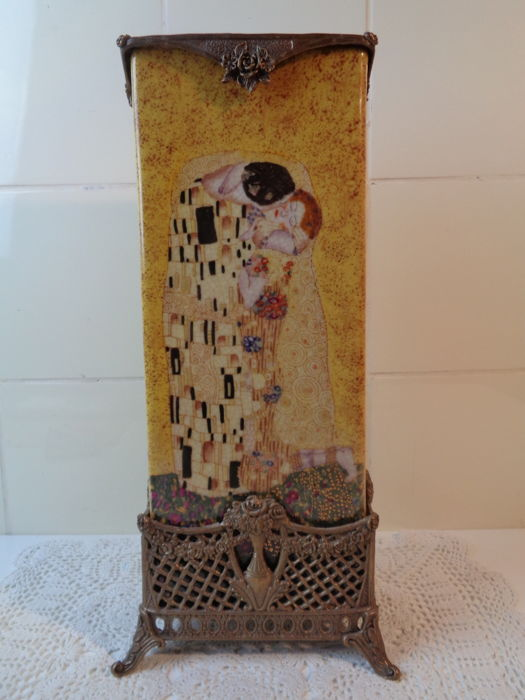 Earthenware vase in Gustav Klimt style, 1990s