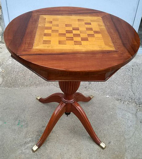 Walnut and mahogany game table - Italy, 1950s