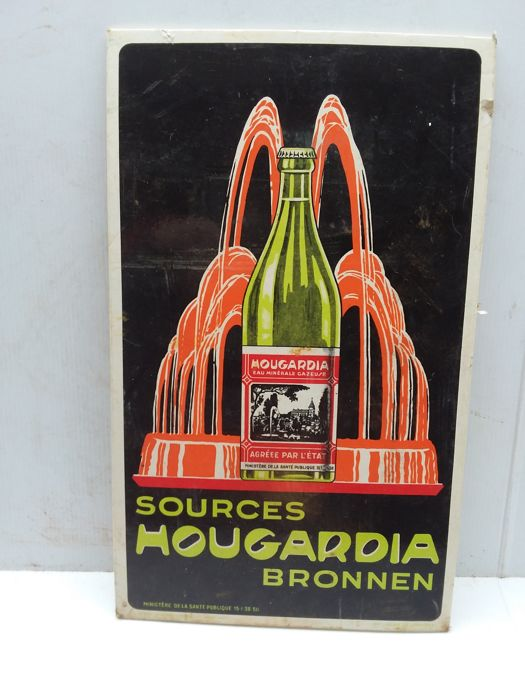 Very old cardboard advertising sign sources hougardia - 1938