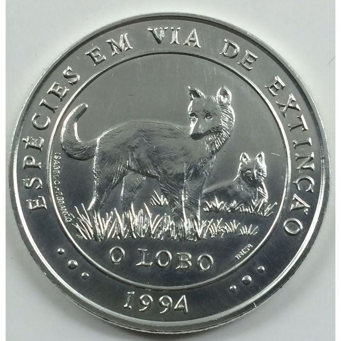 Portugal Republic - 1.000 Escudos - 1994 - The Wolf - Endagered Species - Silver