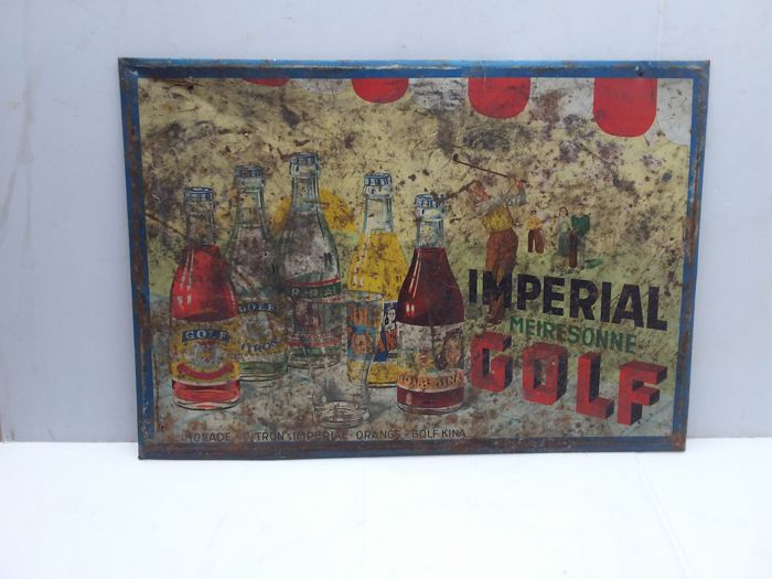 Very old tin advertising sign limonade golf - 1950