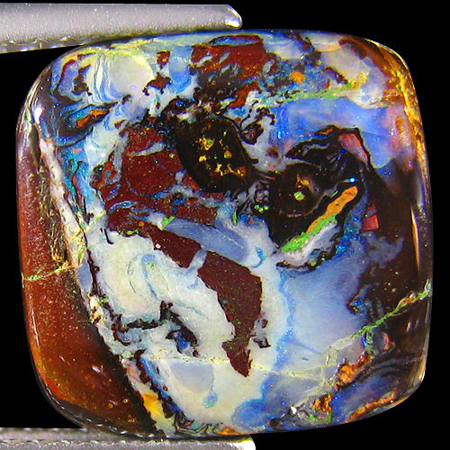Crystal Cores Matrix Design Koroit Boulder Opal - 12.21 X 12.00 X 3.24 mm - 5.18 ct