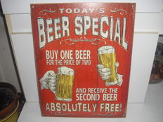 Tin advertising sign BEER SPECIAL