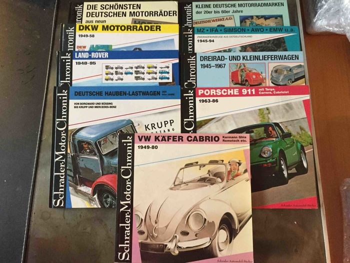 Collection of 9 x books Schrader motor Chronicle