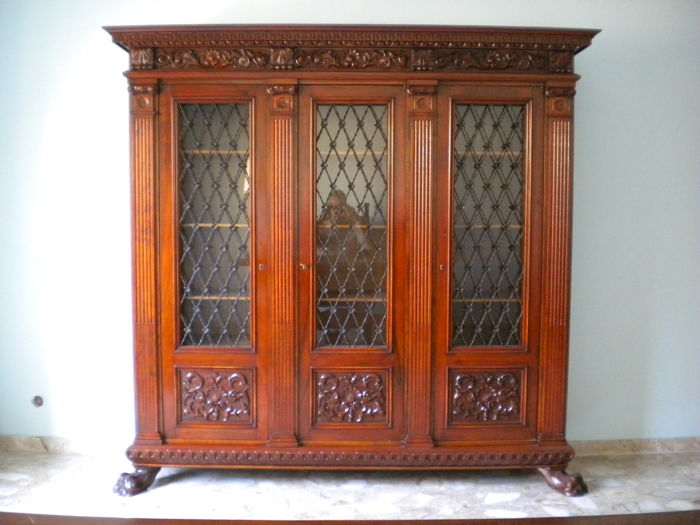 Walnut study furniture - neo-Renaissance Closed bookcase with three doors / Desk / & Walnut study furniture - neo-Renaissance: Closed bookcase with three ...