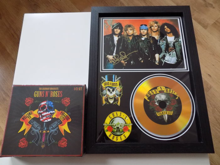 "Guns N Roses Framed Gold Coloured CD Display With Printed Signatures & "" The Legendary Broadcasts "" 8 CD Box Set."