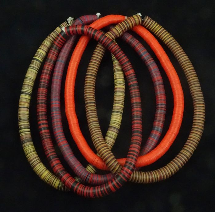 "5 Strand of beautiful colored African ""Vinyl Disk beads"" 1975 -2000 Nigeria"