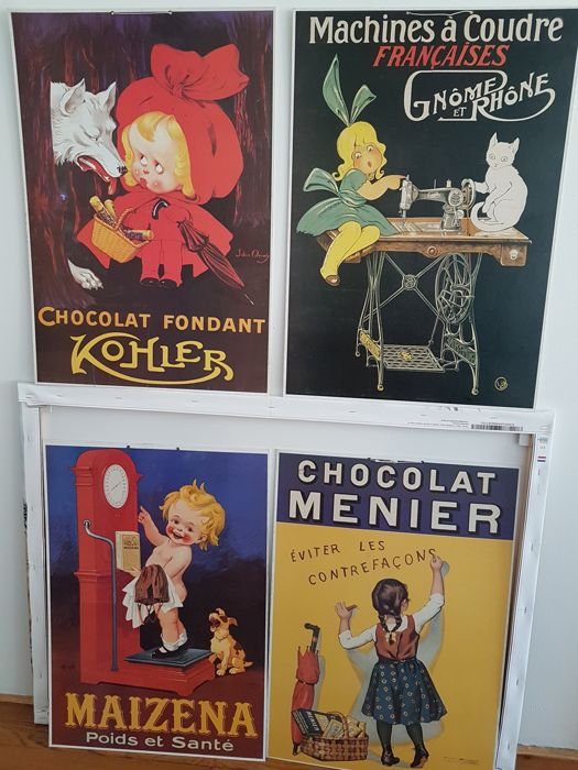 4 Authentic  Chromolitography advertisement - cardboard - (46 x 66 cm)