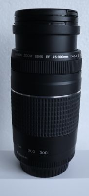 Canon EF 75-300mm 1:4-5.6 III USM + lens hood Canon ET - 60 and UV filter