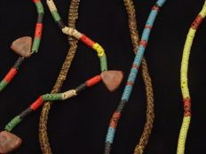 One strand of old snake bone bead and two strand Bohemian glass 'snake' or 'chain' beads