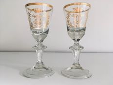 Two gold-painted chalice glasses, Bohemia, 18th century