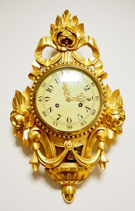 Swedish Gilt Wood hand carved Ornate Wall Clock Rococo style  - XXth century 2nd half