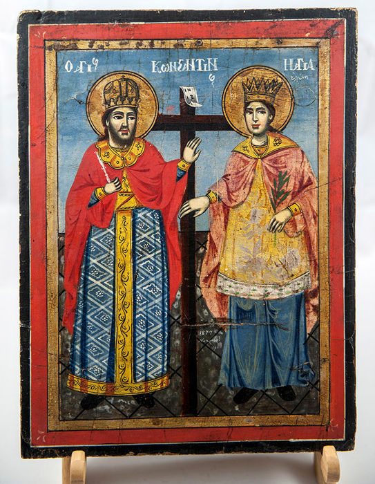 Greek icon of Saints Constantine and Helena - 19th century