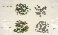 205 loose Drawn and pound hot pinched Venetian star Trade beads 1850 - 1900