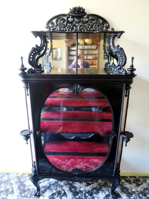 Horrix brothers (attributed to) - Ebonised Willem III silver cabinet with mirror on top - The Netherlands - ca. 1850