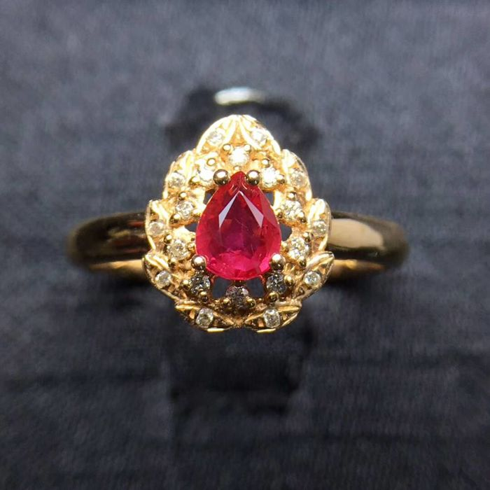 0.39 Carat Ruby Ring In 18K Solid Rose Gold Diamond - Ring Size: 6.75 - Free Resizing
