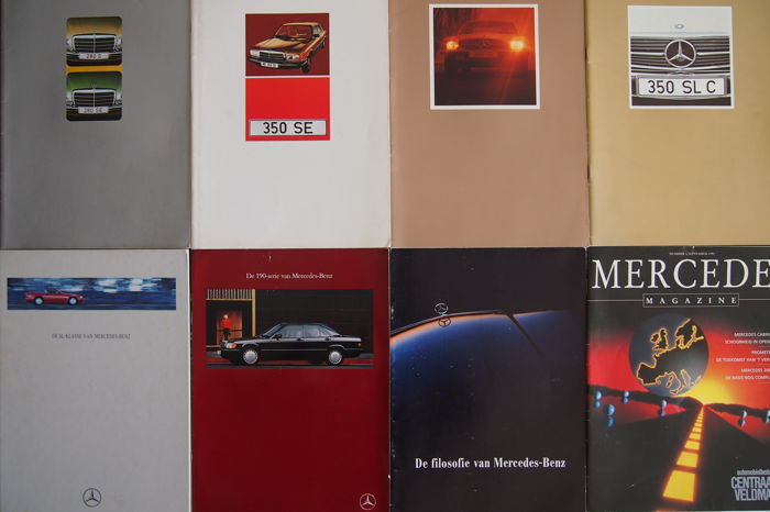 Mercedes-Benz - 9 brochures and1 bound book - 1970s to 1990s