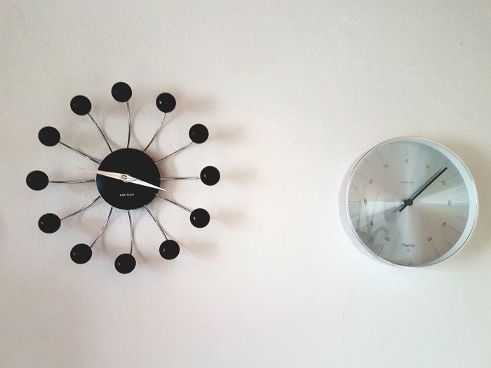 Karlsson   Large Stainless Steel Chrome Design Thermometer And Spider Wall  Clock In Sputnik Style