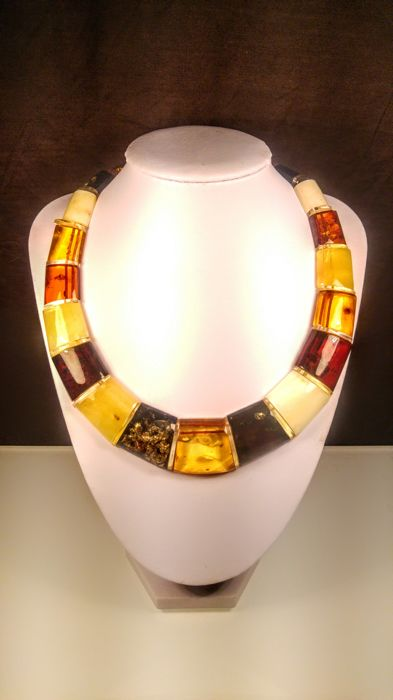 Beautiful Huge mix colour Genuine Baltic Amber necklace Cleopatra style, length 45 cm, 60 grams