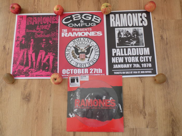 "Ramones "" WBUF FM Broadcast "" Limited Edition LP Picture Disc & 3 Ramones Repro  Concert Posters."
