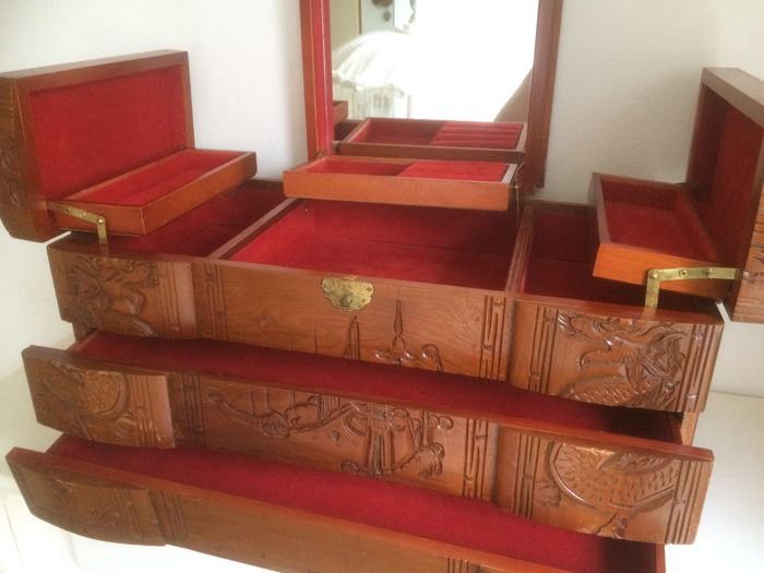 Large Asian Wooden Jewellery Box With Mirror 1940 50s Catawiki