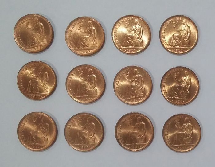 Spain - Lot of 12 Coins of 50 cents, 1937, QUALITIES UNC/UNC-. Spanish Republic