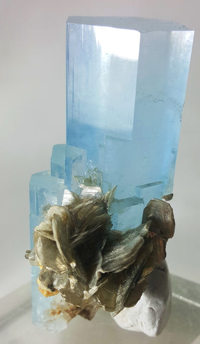 Stunning Quality Top Color Transparent Aquamarine Crystal With Muscovite -  - 76 x 35 x 51 mm - 156 gm