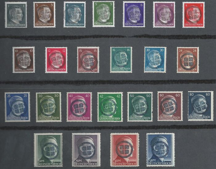 Germany, 1945 – Hitler portrait series with Liechtenstein local overprint