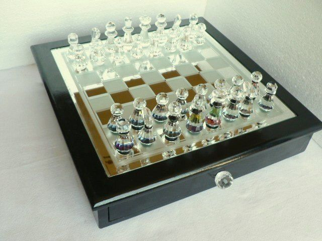 Hand Cut Glass Chess Set Wooden Furniture With Board