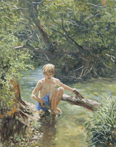 "Chris van Dijk -  ""Boy playing on the banks of a stream"""