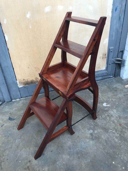 Teak Wooden Library Chair / Ladder, Second Half Of 20th Century