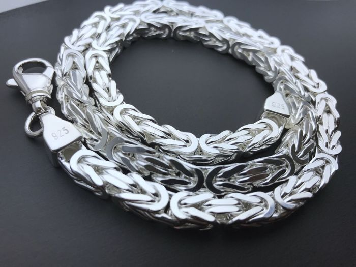 Sterling Silver (925) King's braid link necklace, 60 cm, 120 g