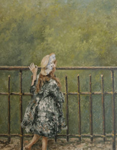 "Chris van Dijk -  ""Girl in her green dress on a bridge"""