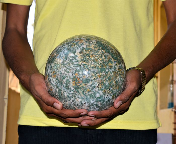 Green Tree Agate Stone Sphere Ball W/Stand - 180 mm - 7700 gm