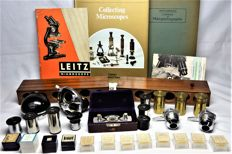 Nice lot of parts and literature on microscopes