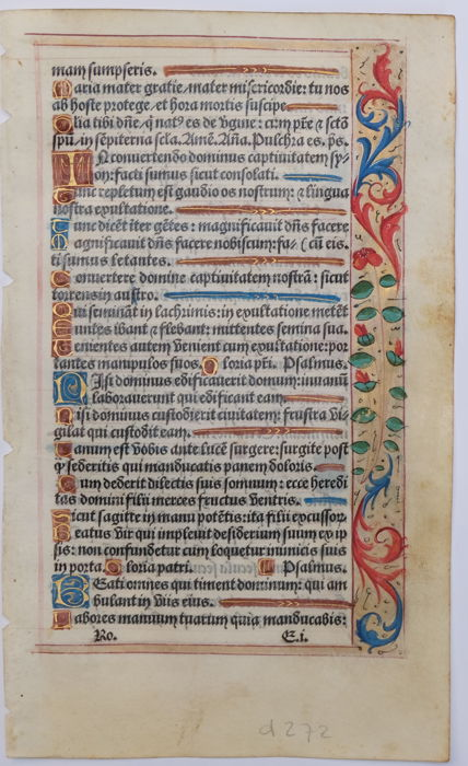 Original page from a Book of Hours from France - 1508