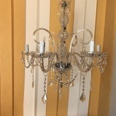 Maria Theresa style, 5-light, crystal glass and silver Chandelier - 4-ribbed - made in Italy