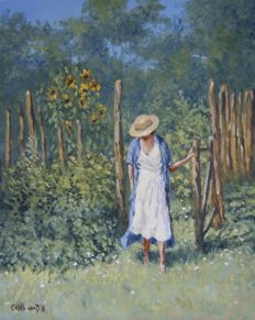 "Chris van Dijk -  ""Lady in her garden with sunflowers"" Tournesolles"