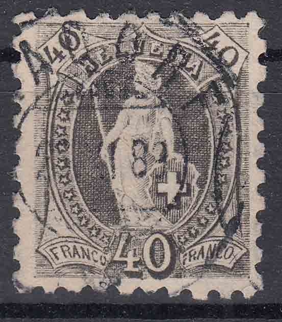 Switzerland, 1888 - Helvetia standing 40 centimes perforated 9½ - Yvert 83 - Mi 61 x b.