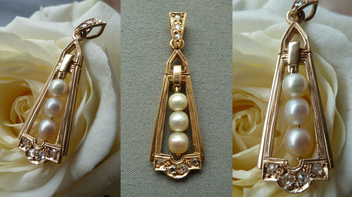750 / 1000 ct yellow gold pendant with freshwater pearls and diamonds