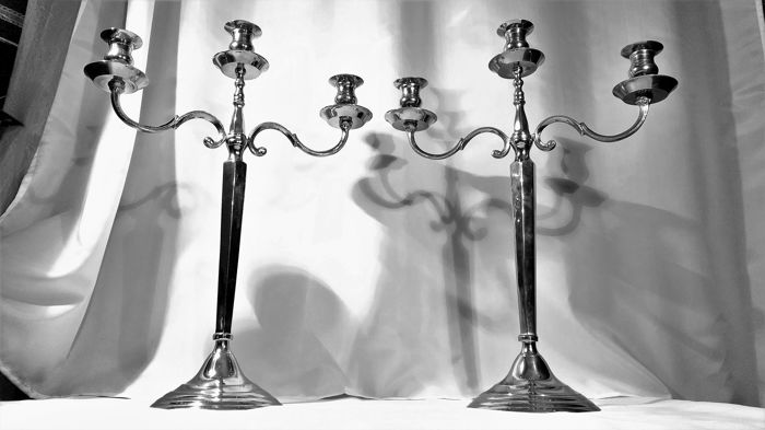 Silver plated copper, large 3-light, Art Deco candle stands - beautiful set - heavy, 4.5 kg - England