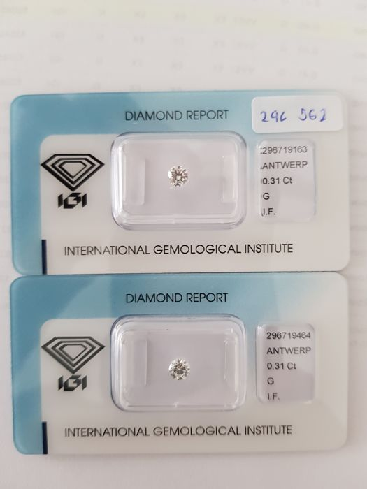 Pair of of brilliant cut diamonds of 0.62 ct in total G.I.F