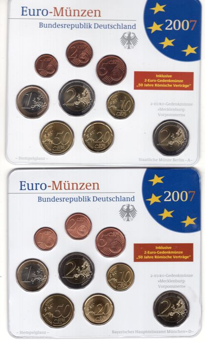 Germany Euro Coin Set 2007 A D F G J 2008 A D F G J In