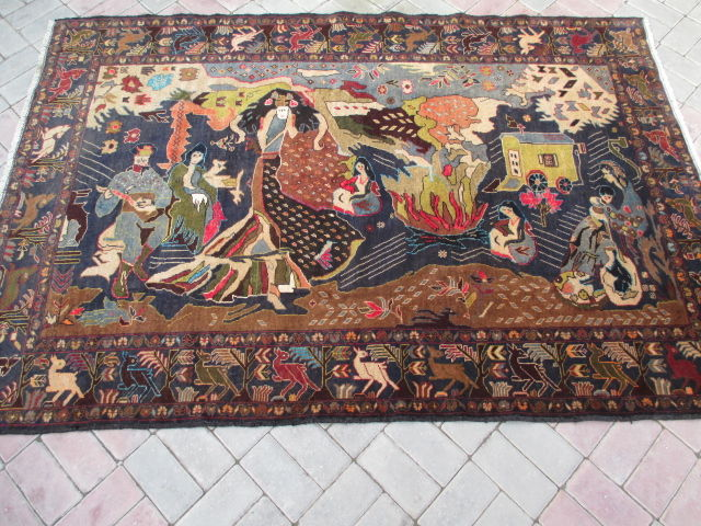 Hand Knotted Herathi Pictorial Rug 215 X 147 CM